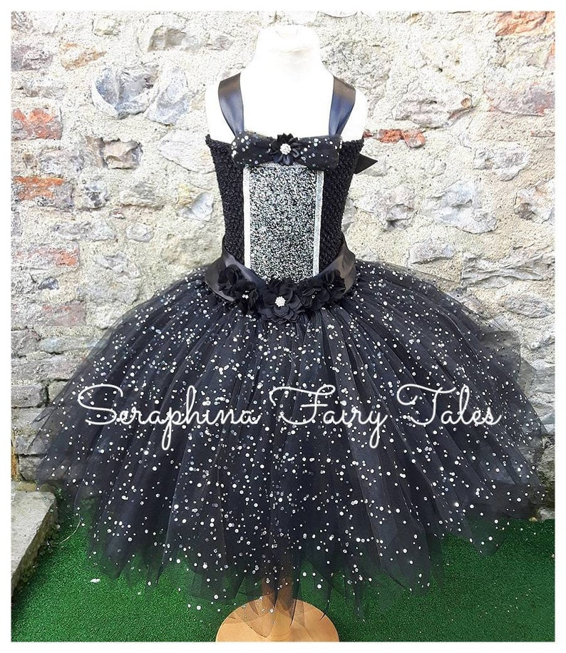f39fe703 Girls Little Black Tutu Dress Costume. Lined Sparkly LBD | Etsy