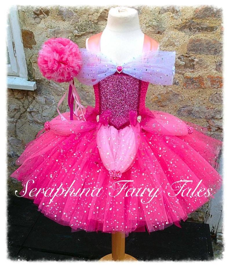 bfb0dbec5c583f Meisjes roze prinses Sparkly Tutu jurk kostuum. Bekleed Pink