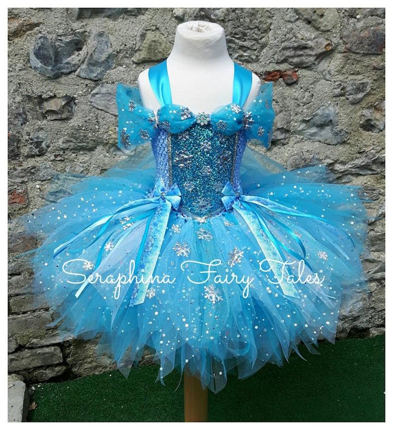 4bd34a6c7b9db4 Meisjes prinses sneeuwvlok Tutu jurk kostuum Blue Lined
