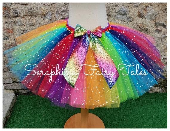 Kinder Mädchen Bunte Tutu Rock Mädchen Regenbogen Tüll Mini Dress Dance 2-13T