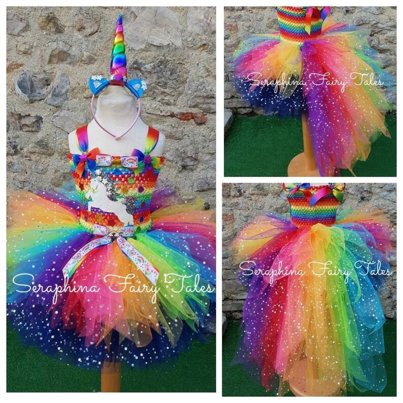 1ea42fce983f74 Meisjes Rainbow Unicorn Tutu jurk kostuum. Bekleed Glitter