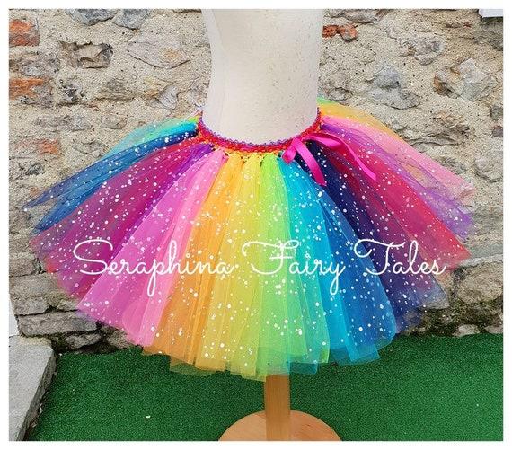 nuovo di zecca 962e4 32121 Ragazze gonna in Tulle Tutu arcobaleno. Colorato e luminoso scintillante  compleanno torta del partito Smash Tutu vestito. Disponibile In taglia  adulti ...