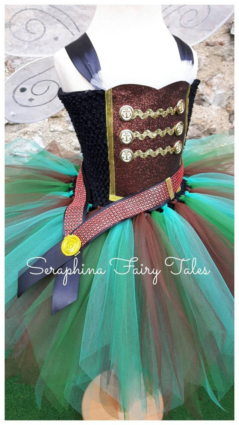 Teal and Brown Christmas Pixie Girls Pirate Fairy Tutu Dress Costume PLAIN VERSION. Lined Green Birthday Party or Gala Gown /& Wings
