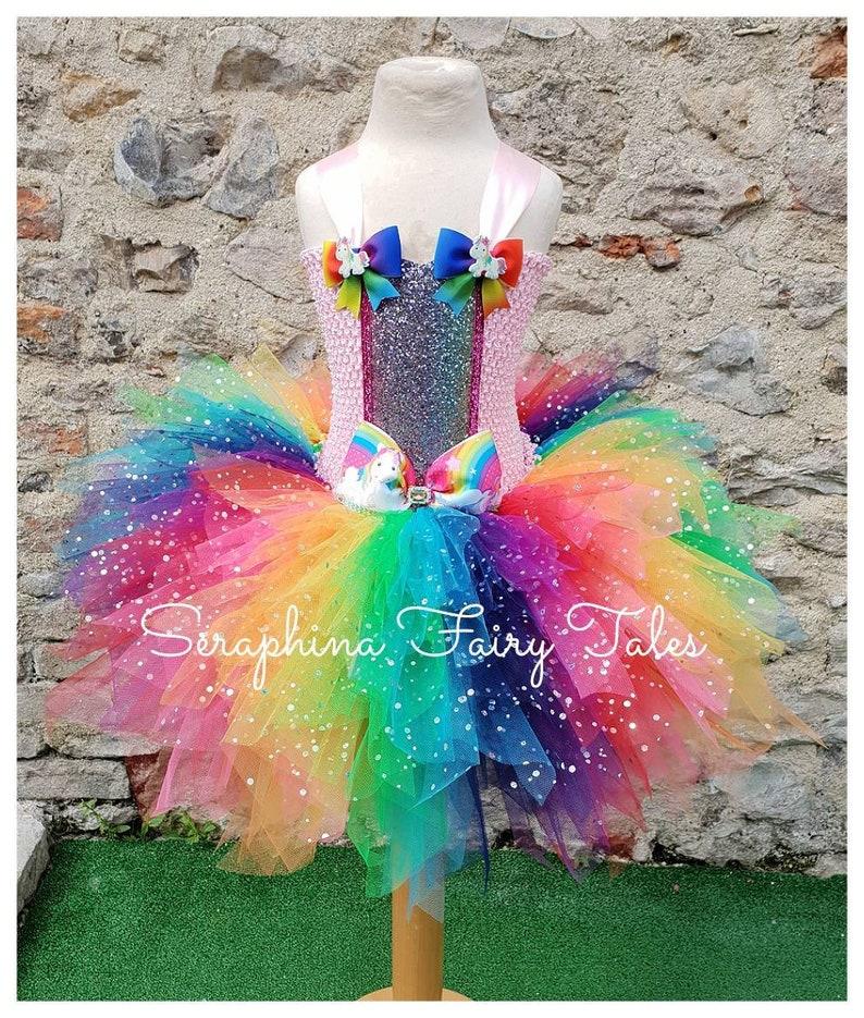 4f3fa3e8557ee Girls Rainbow Unicorn Tutu Dress Costume. Lined Sparkly 6   Etsy