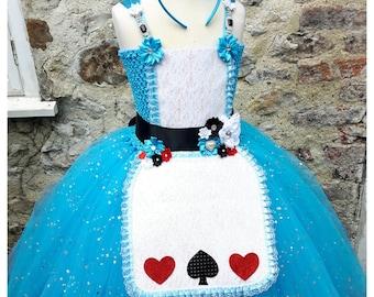 Alice-Tutu Kleid - blau mit Glitzer Schürze & Blumen. Wunderland Teetasse Hut Extra. Knöchel-Länge. Selbst durch Seraphina Märchen zu bestellen