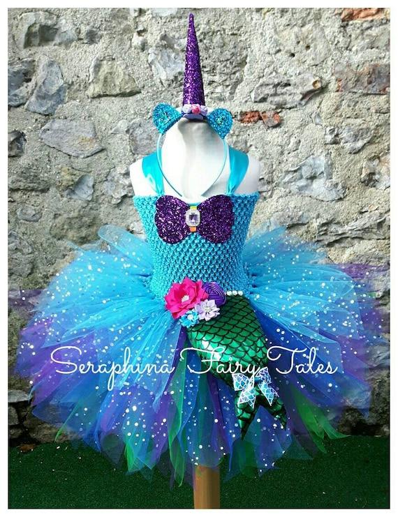 Les filles Mermicorn sirène / Licorne Tutu Dress Costume. Robe fête anniversaire violet, vert et bleu avec queue de sirène + bandeau corne doublée.