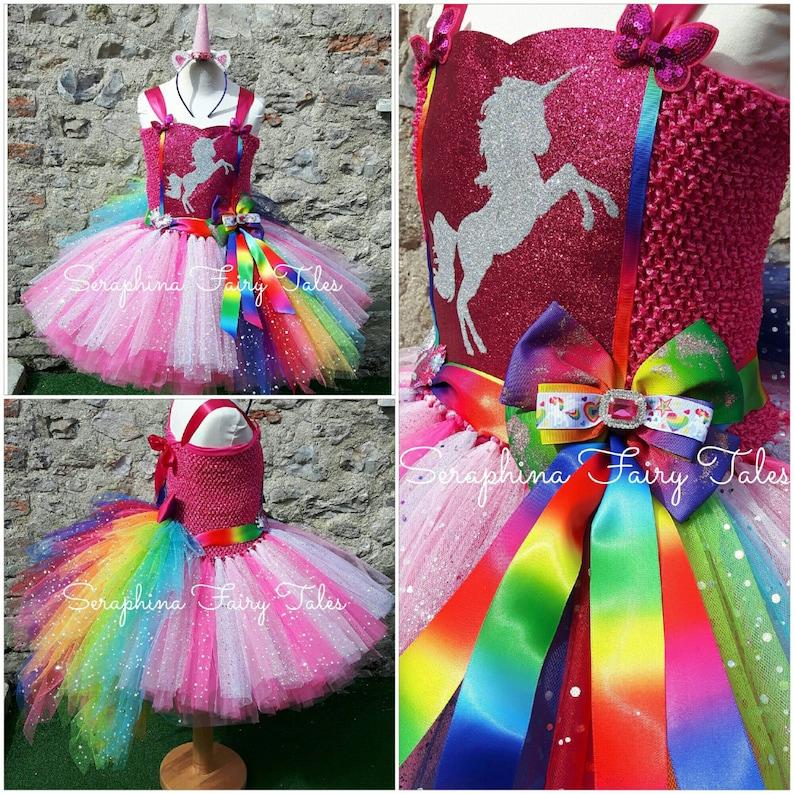 99ad5a34ff035e Meisjes roze Rainbow Unicorn jurk kostuum. Bekleed Glitter