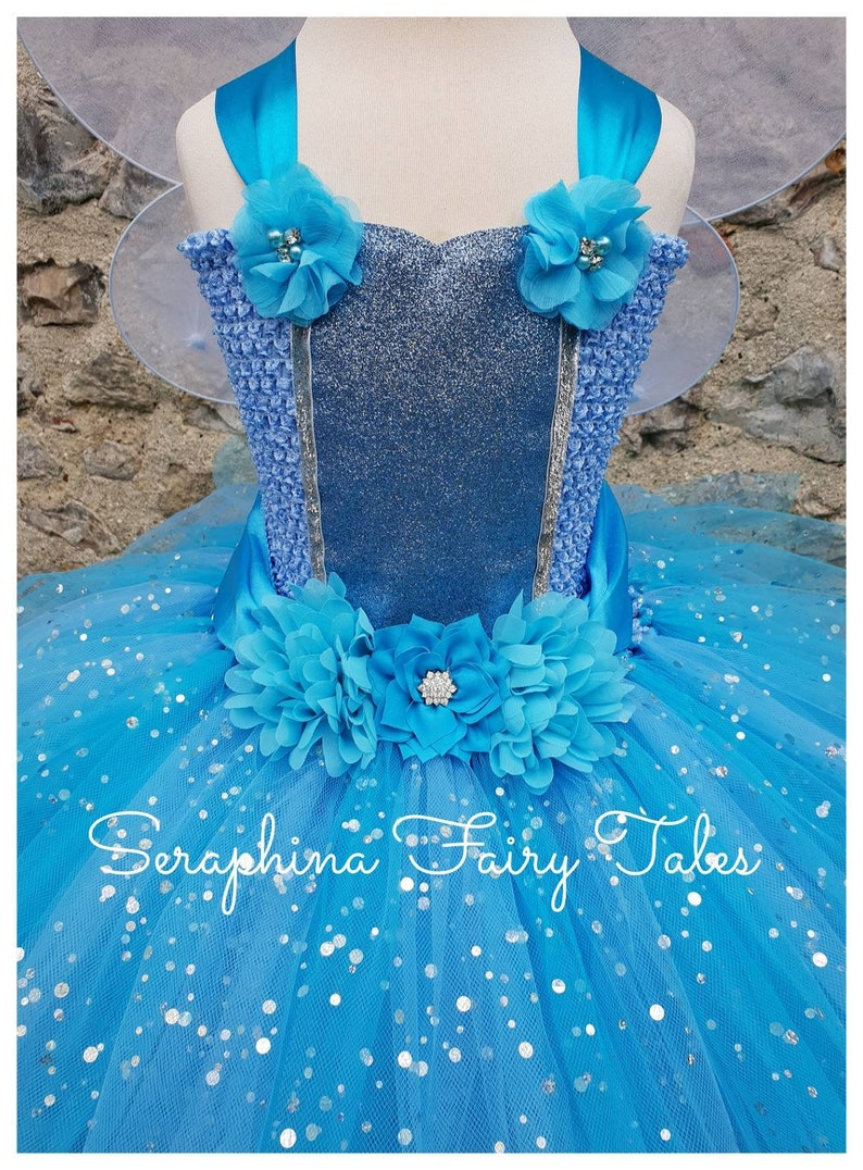 Girls Blue & Turquoise Fairy Tutu Dress Costume Lined Sparkly ...