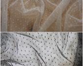 Polka Dot Tulle Fabric in Ivory or Black - Per Metre or Half Metre FREE UK SHIPPING