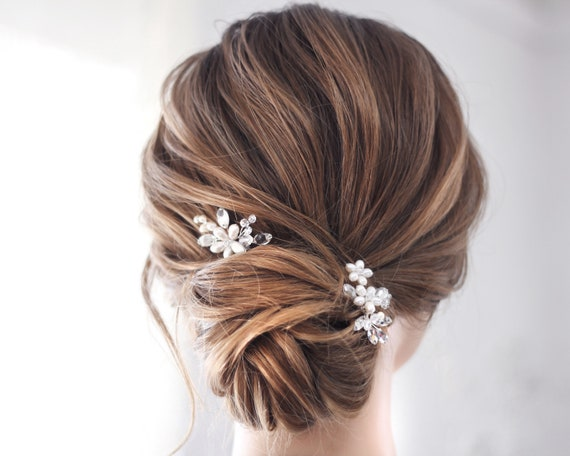Pearl Crystal Small Bridal Hair Pieces, Set