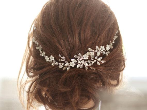 Bridal Headpiece, Crystal Bridal Hair Piece, Crystal and Pearl Bridal Headpiece, Bridal Hair Halo, Crystal and Pearl Wedding Hair Piece.