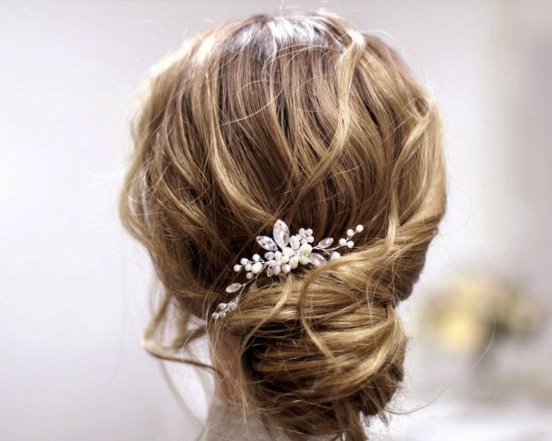 Pearl Crystal Small Bridal Hair Piece Wedding hair pin Bride image 0