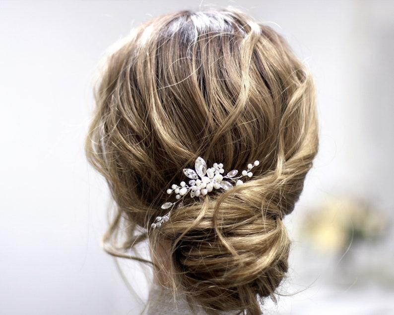 92f5e5d7c9 Pearl Crystal Small Bridal Hair Piece, Wedding hair pin, Bride hair clip,  Bridal hair pins, Crystal hair comb bride Wedding hair Accessories