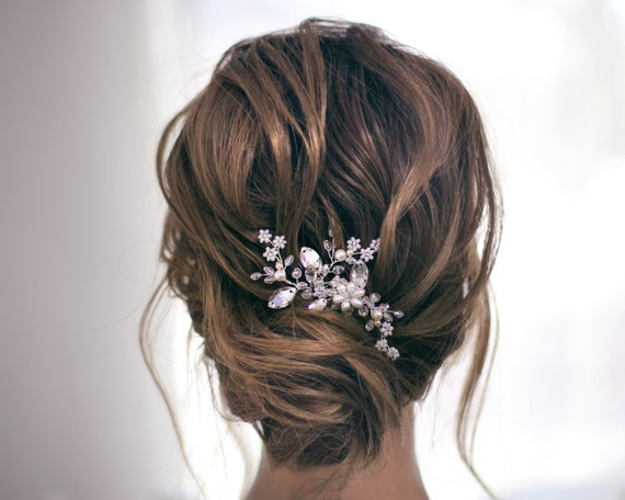 Crystal Pearl Bridal hair pieces, Small Bride
