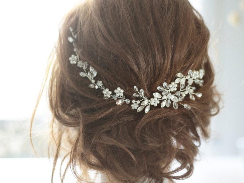 Bridal Headpiece Crystal Bridal Hair Piece Crystal and Pearl image 0