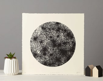 Spirograph Style print, Black and White Screenprint, Monochrome Wall Art, Cosmic print, Geometric Line Art, 31 x 31cm, Limited Edition