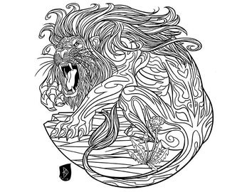 Adult Coloring Page Zodiac Sign Set LEO Instant Download Print
