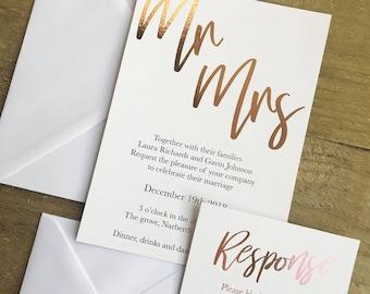 Rose gold elegant modern wedding invitation suite, rose gold foil