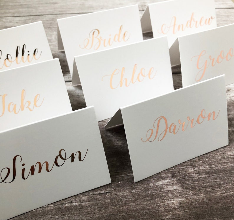 Rose gold foil elegant place cards tent cards wedding place image 0