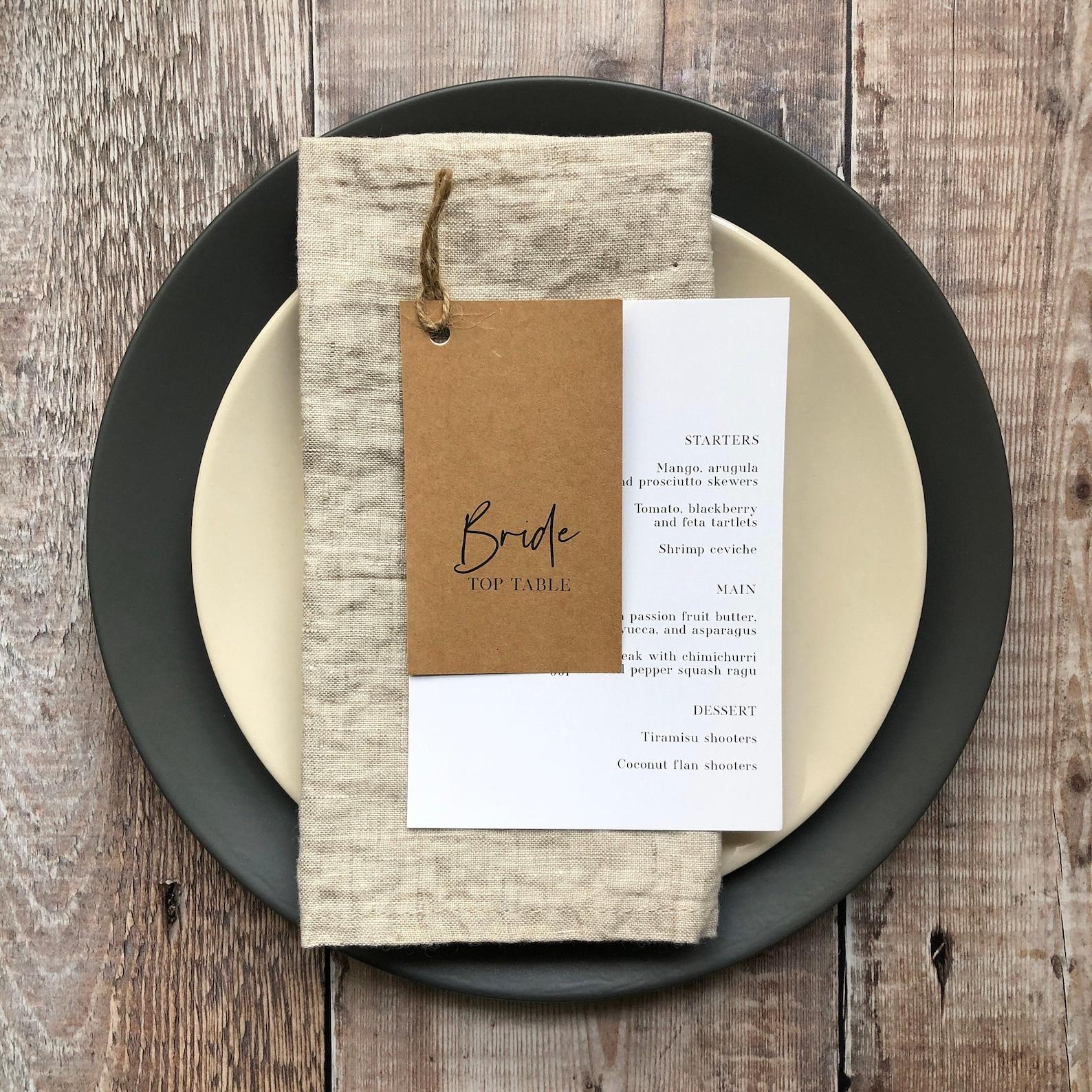 Menükarte und Tischkarte Hochzeit