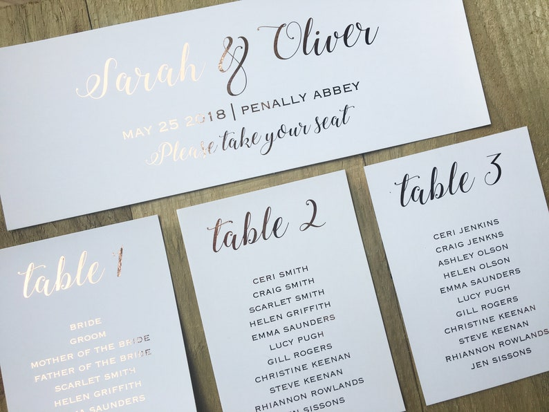 Plan A Wedding.Rose Gold Foil Seating Plan Wedding Table Plan Elegance Collection