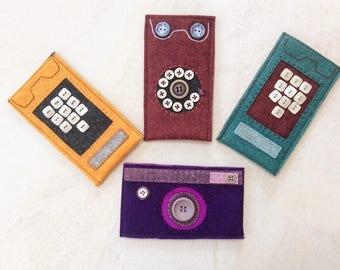 Phone case, iPhone cover 7, 6, 6S, wool felt cover, phone sleeve, yellow trim phone, retro phone