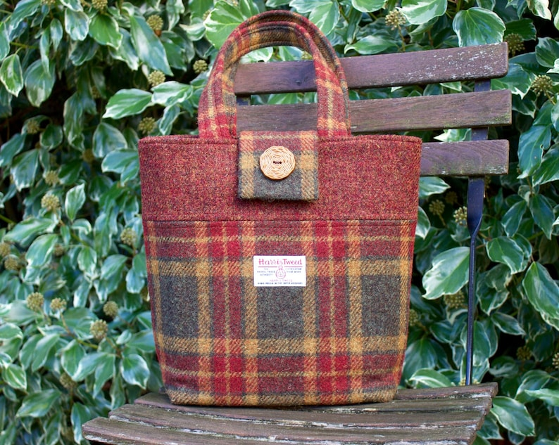73d043684a HARRIS TWEED handbag plaid tote bag shoulder bag purse