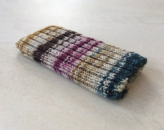 Knitted iPhone sock for 7, 6 or 6S, smartphone cover case, blue brown and pink on cream