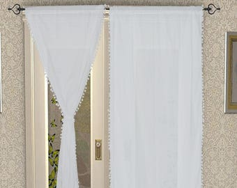 Pom Pom Curtain, Pom Pom Decor, Tassel Curtain, White Curtain, Little Girls