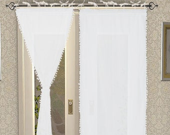 pom pom blackout curtains leading edge pom curtain decor tassel white little girls bedroom curtain1 panels pom curtain etsy