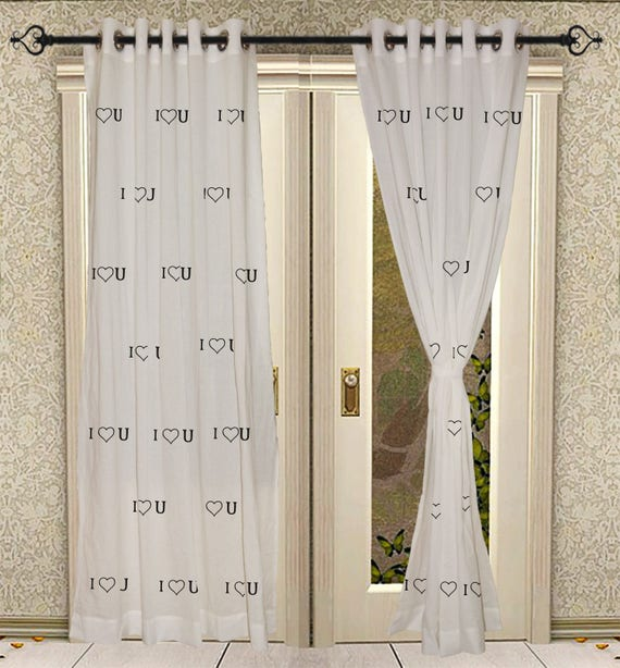 White Eyelet Printed Curtains For Home Living Room Door Solid Curtain 2 Pcs  Set