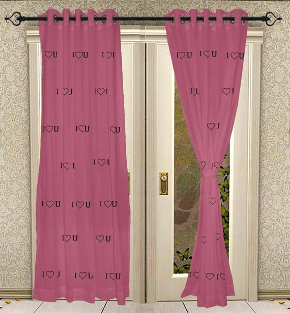 Amazing Living Room Curtain Door Curtain Solid Cotton Curtain Pink | Etsy