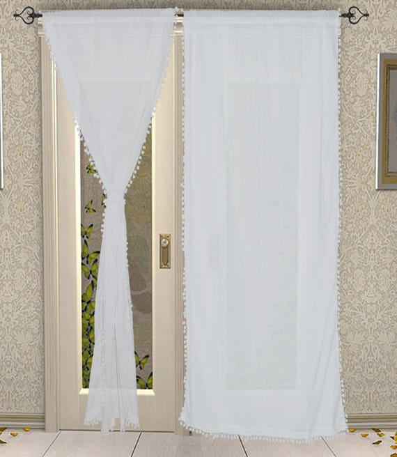 Pom Pom Curtain, Pom Pom Decor, Tassel Curtain, White Curtain, Little Girls  Bedroom Curtain-1 Pcs