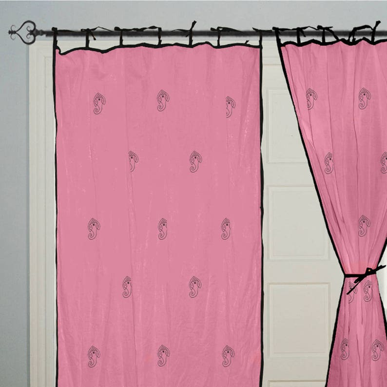 window treatments bohemian boho decor housewares 2 panel Block print Ganesha Bedroom Curtains bedroom Pink curtains