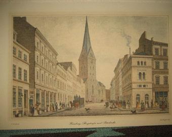 Hamburg Bergstrasse und Petrikirche Steel Engraving on Paper / Johann Poppel (1807-1882) Antique Print