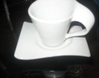White Ceramic Wavy Espresso Cup and Saucer