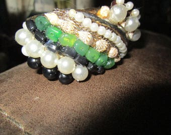Vintage 1950s/60s Gold Tone Hinged Cuff Bracelet Revamped w/Pearls/Beads/Shells