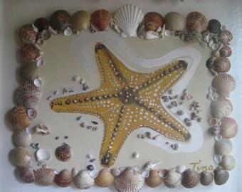 Starfish Painting, framed with Seashells/Beach Decor