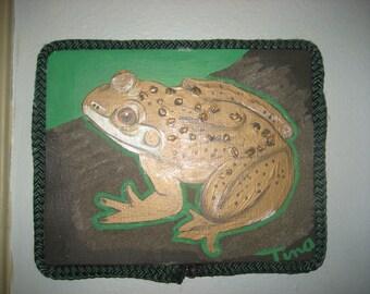 Frog /Original Painting/Rope Frame