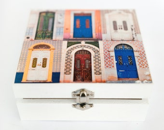 Wooden box with transfer of my photos of Algarvian doors.