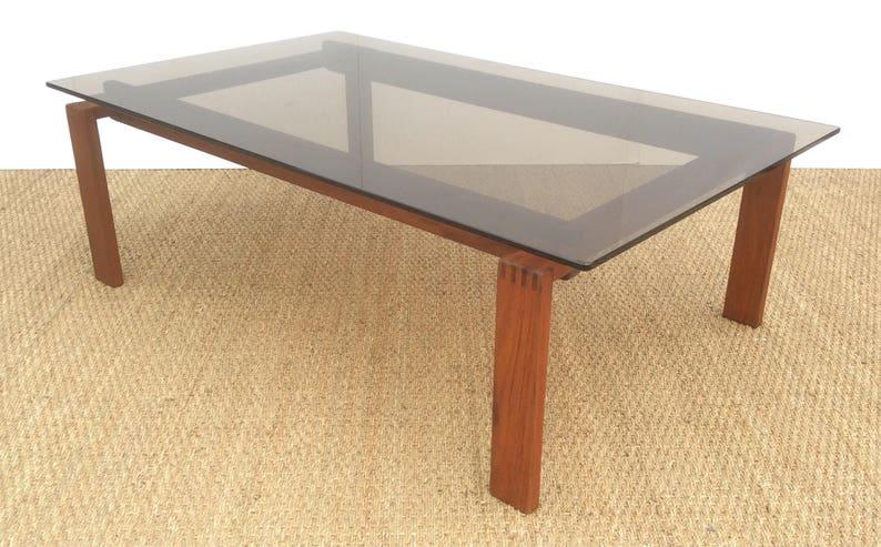 Danois En Teck Table Basse Avec Plateau En Verre Teinté Bronzé Etsy