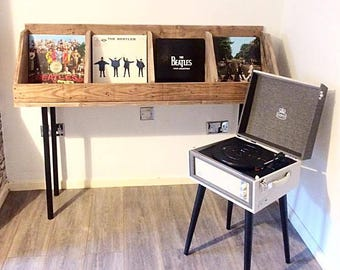 Vinyl Record Storage, Record Stand, Record Holder, Book Stand, Book Holder,  Wood Record Stand, Rustic Stand,