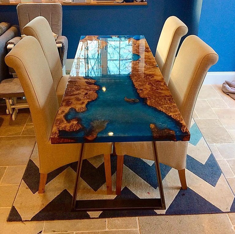 buy popular fd187 be37a Resin dining table, dining table, oak dining table, epoxy resin dining  table,