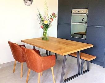 Oak dining table, dining table, handmade dining table, large dining table, custom made dining table, steel legged dining table