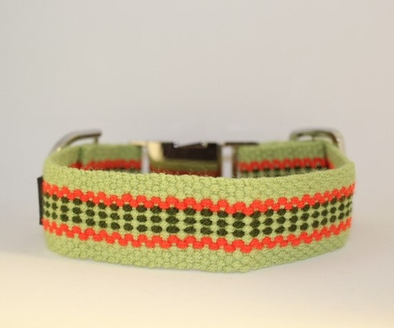 Handmade Plano Dog Collars: Small and Medium Lime green, seaweed green, orange