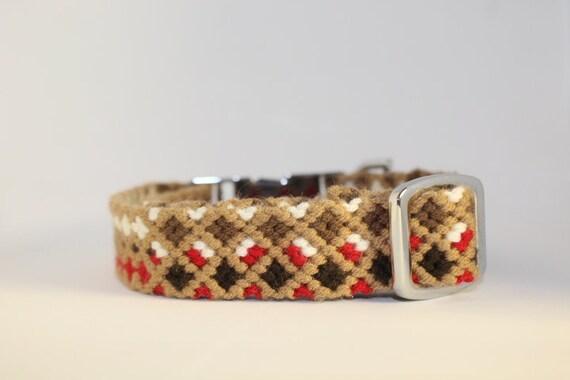 Handmade Macrame Dog Collars: Small and Medium brown, mocha, red & white
