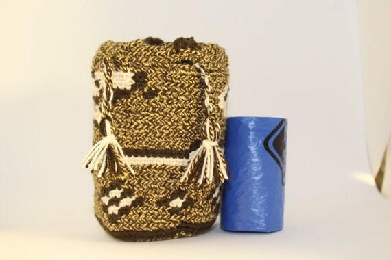 Handmade Mini Wayuu handbag (Brown, khaki, white) – Dog disposable bags/treats holder