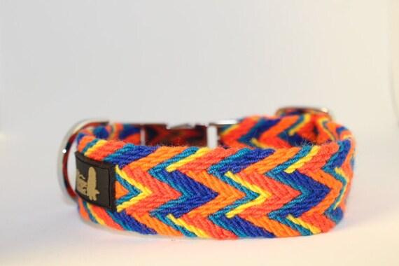 Handmade Osonuchi Dog Collars: Small and Large orange, blue, yellow