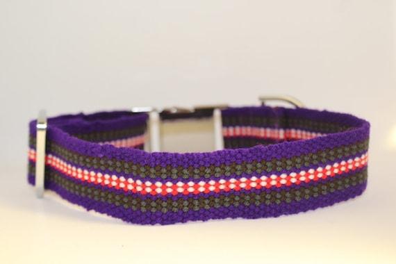 Handmade Plano Dog Collars: Medium Purple, red, white, grey, brown
