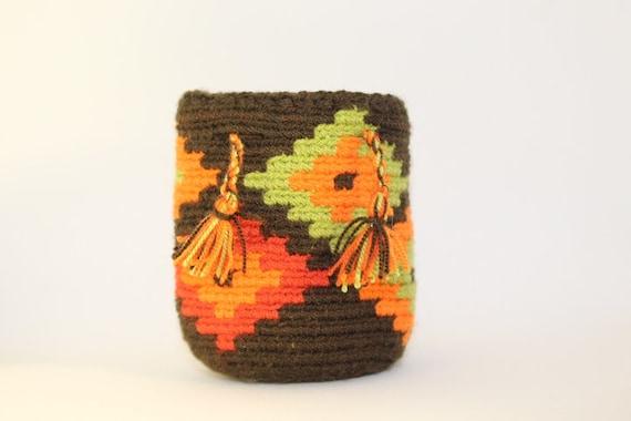 Handmade Mini Wayuu handbag (Brown, orange, lime, red) – Dog disposable bags/treats holder